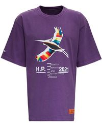 Heron Preston Purple Cotton T-shirt With Logo Print