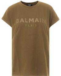 Balmain Satin Logo T-shirt - Green
