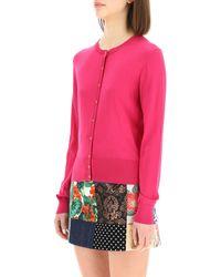 Dolce & Gabbana Silk Cardigan With Buttons 44 Silk - Pink