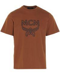 MCM Logo Print Round Neck T-shirt - Brown