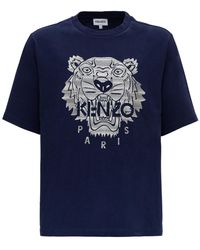 KENZO Tiger Embroidered T-shirt - Blue