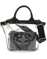 Prada Plexiglass Hemp Small Canapa Shopper Tote Black