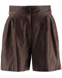 Dolce & Gabbana Leather Short Trousers - Brown