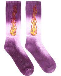Palm Angels Flames Motif Printed Tie-dye Socks - Purple