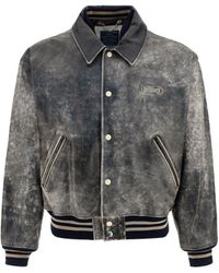 DIESEL Distressed Leather Bomber Jacket - Multicolour