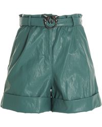 Pinko Faux Leather Shorts - Green