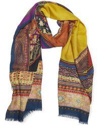 Etro Delhy Multicolour Silk And Wool Scarf