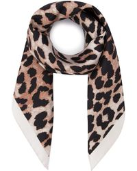 Ganni Leopard Print Scarf - Multicolour