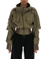 DSquared² Cropped Panelled Jacket - Green