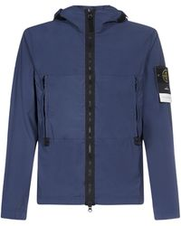 Stone Island Logo Patch Windbreaker - Blue