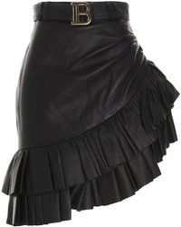 Balmain Asymmetrical Mini Leather Skirt - Black