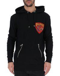Balmain - Logo Patch Drawstring Hoodie - Lyst