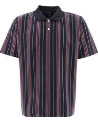"Stussy ""revival"" Stiped Polo Shirt - Black"