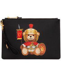 Moschino Teddy Bear Print Clutch Bag - Black
