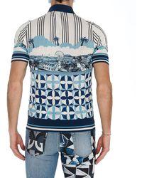 Dolce & Gabbana Majolica Print Polo Shirt - Blue