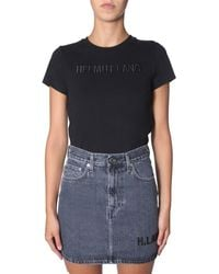 Helmut Lang - Logo Embroidered T-shirt - Lyst