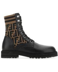 Fendi Ff Motif Combat Boots - Black