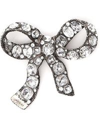 Gucci - Crystal Embellished Large Bow Brooch - Lyst