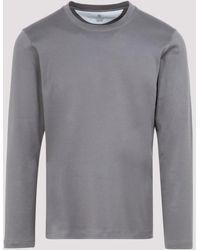 Brunello Cucinelli Crewneck Long-sleeve T-shirt - Grey