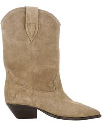 Isabel Marant Duerto Block Heel Boots - Natural