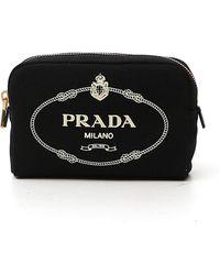 Prada Logo Printed Cosmetic Pouch - Black