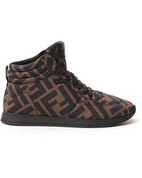 Fendi Ff Motif High-top Sneakers - Brown