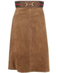 Gucci Web Horsebit Skirt - Brown