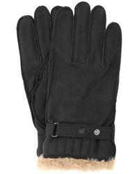Barbour Dark Brown Leather Gloves Nd Uomo