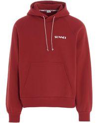 Sunnei Logo Print Drawstring Hoodie - Red