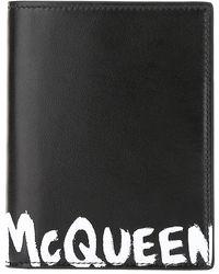 Alexander McQueen Graffiti Logo Passport Holder - Black