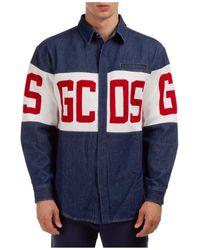 Gcds Men's Denim Long Sleeve Shirt Dress Shirt Band Logo - Blue
