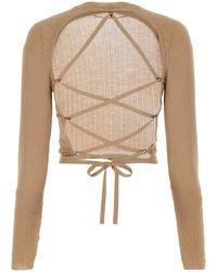 Miu Miu Lace Up Open Back Cropped Sweater - Natural