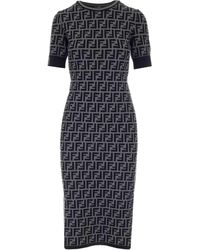 Fendi Ff Motif Midi Dress - Grey