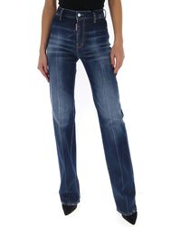 DSquared² High Waisted Flare Jeans - Blue