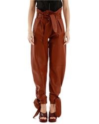 The Attico Belted Detail Paneled Pants - Brown