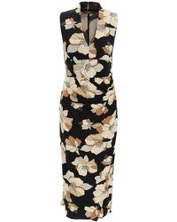Max Mara Studio Floral Print Sleeveless Dress - Black