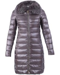 Herno Elisa Fur Trimmed Padded Coat - Grey