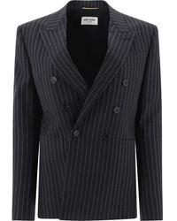 Saint Laurent Pinstriped Blazer - Black