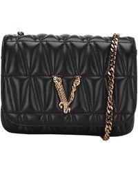 Versace Virtus Plaque Quilted Crossbody Bag - Black