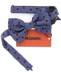 Missoni Hoops Patterned Bow Tie - Blue