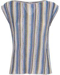 M Missoni Glitter Striped Sleeveless Top - Blue