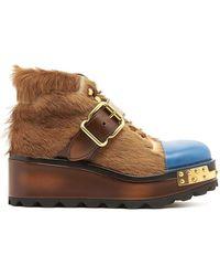 Prada Fur Wedge Boots - Brown