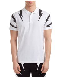 Neil Barrett Thunderbolt Print Polo Shirt - White