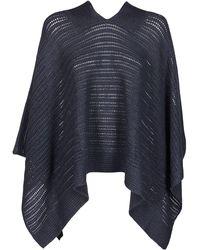 Agnona Knitted V-neck Poncho - Blue