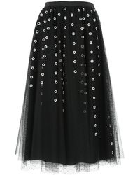 RED Valentino Embroidered Tulle Skirt - Black