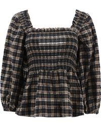 Ganni Women's F5851189 Black Cotton Blouse