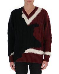 Alexander McQueen Contrast Knit V-neck Jumper - Multicolour