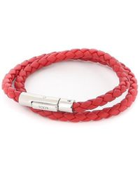 Tod's Leather Double Wrap Bracelet - Red
