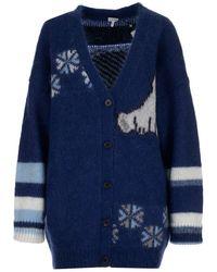 Loewe Oversized Bear Cardigan - Blue