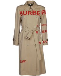 Burberry Horse Print Trench Coat - Natural